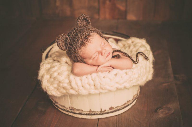Newborn Baby Boy Wearing a Bear Hat