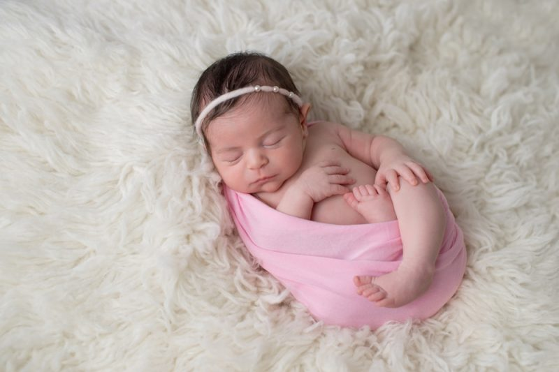 Swaddled, Sleeping Newborn Baby Girl